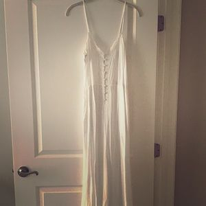 White Free People Wide leg Jumpsuit with pockets!